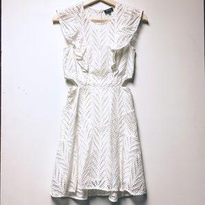 Bardot White Eyelet Lace Lined Ruffle Dress 4/XS